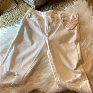 White Distressed Jeans by Free People